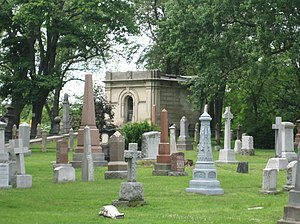 St. James Cemetery (Toronto) - A part of St. James Cemetery, with the Austin family mausoleum in the background.