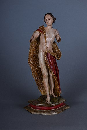 Woodcarved polychrome figure representing Saint John Baptist from Val Gardena, 18th century.
