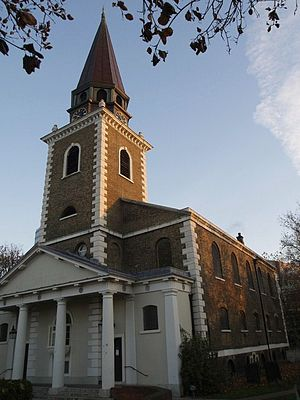 St Mary's Church, Battersea - View of the front of the church