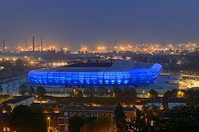 Vue du Stade Océane de nuit.