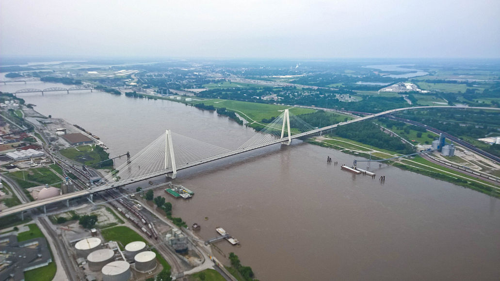 The completed Stan Musial Veterans Memorial Bridge