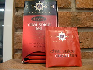 A Box of Stash Chai Spice Tea and Bag.