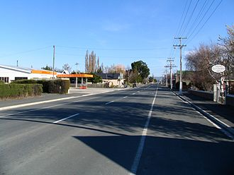Middlemarch, New Zealand - Looking south along State Highway 87 at Middlemarch