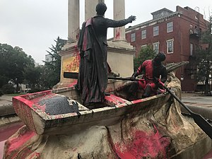 Francis Scott Key Monument - Image: Statue marked with spray paint graffiti and splashed red paint, Francis Scott Key Monument (1911, Marius Jean Antonin Mercié), W. Lafayette Avenue and Eutaw Place, Baltimore, MD 21217 (37035175462)