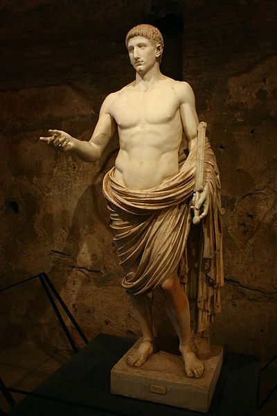 File:Statue of a youth, semi-nude, in heroic pose (so-called Britannicus) - Mostra di Nerone - Palatin hill.jpg