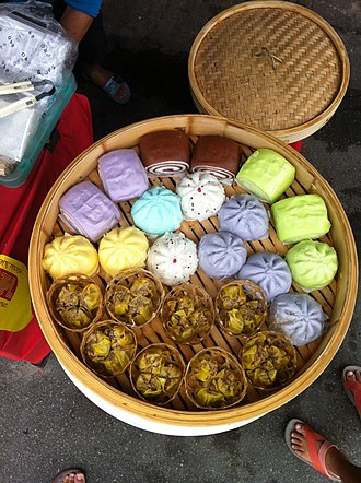 Nine Emperor Gods Festival - Image: Steamed buns, the Vegetarian Festival in Phuket 13