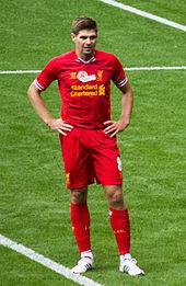 Gerrard nel testimonial match organizzato in suo onore dal Liverpool nell'agosto 2013.