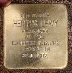 Photo of Hertha Lewy brass plaque