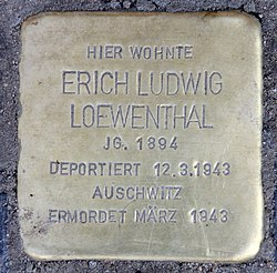 Photo of Erich Ludwig Loewenthal brass plaque