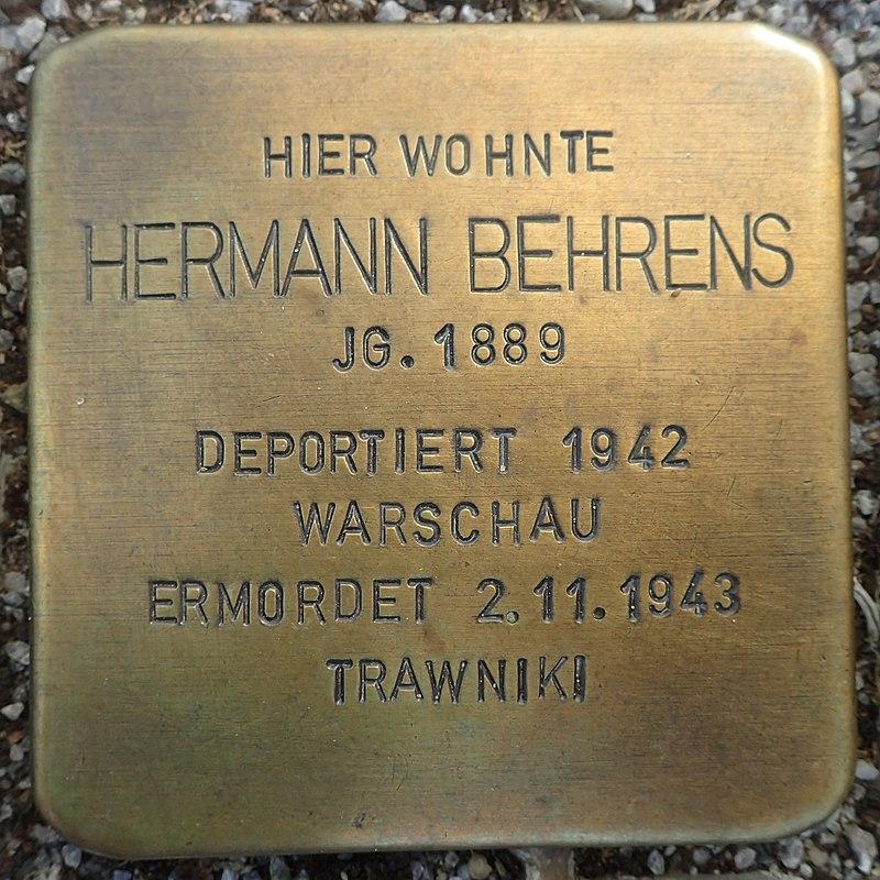Stolperstein Gardelegen Sandstraße-Marktstraße Hermann Behrens