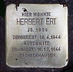 Photo of Herbert Ert brass plaque
