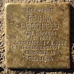 Photo of Regina Hirschberg brass plaque