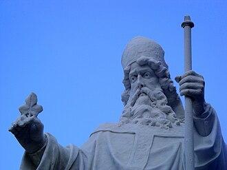 Saint John's Seminary (Massachusetts) - Statue of St. Patrick, patron of the Archdiocese of Boston