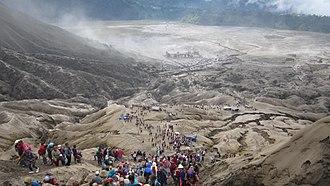 Yadnya Kasada - Devotees climbing trail towards Mount Bromo