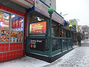 Subway entrance sterling snow 20131214.jpg