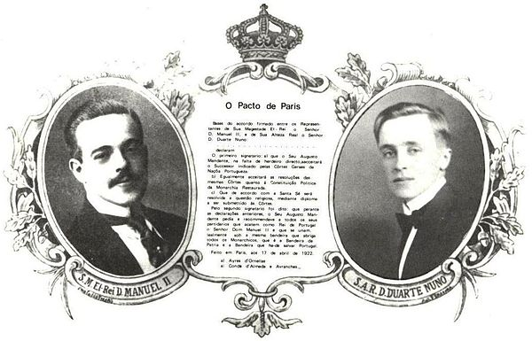 The Pact of Paris in a postcard published by the Integralismo Lusitano group in 1922. Sucessao pacto paris.jpg
