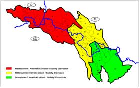 Carte des Sudètes avec les monts de Lusace en 5.