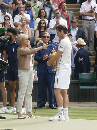 Sue Barker - Sue Barker interviewing Andy Murray at Wimbledon in 2016