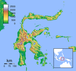 Map showing the location of Taman Nasional Bunaken