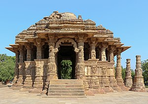 Sun Temple, Modhera - Sabhamandapa with ornately carved pillars and exterior