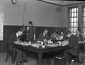 Sunderland Echo - Sub-editors checking facts and news stories at the Bridge Street office in the 1960s