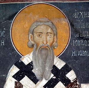 Saint Sava - Fresco detail of Saint Sava in the King's Church, Studenica Monastery, Serbia
