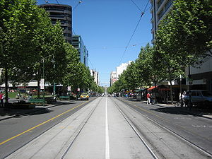 Swanston Street North, looking South towards the Shrine of Remembrance