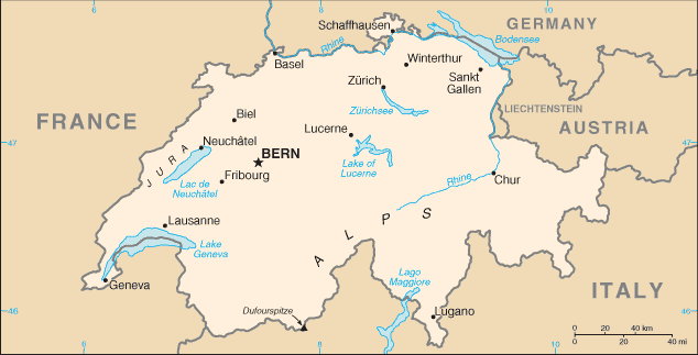 Switzerland-CIA WFB Map