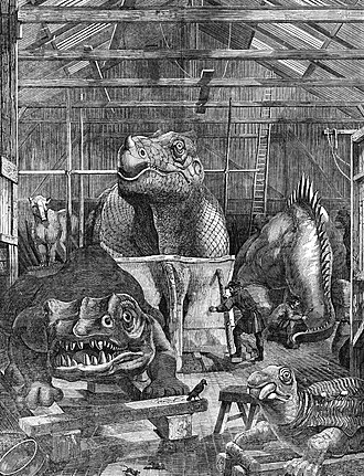 Crystal Palace Dinosaurs - The dinosaur models under construction at Benjamin Waterhouse Hawkins' studio in Sydenham, c. 1853