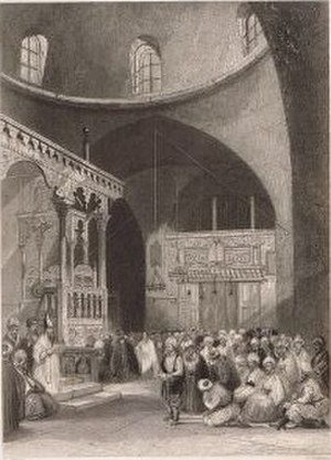 Four Sephardic Synagogues -  Antique steel engraving of the Istanbuli Synagogue, c.1825