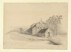 St. Mary's Church, Kottayam - A pencil drawing of the church by Bateman in 1835