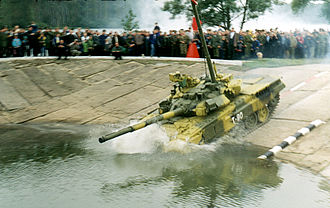 T-90 - An early series T-90 with cast turret during a military exercise in Russia, demonstrating deep fording.