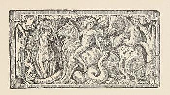Alcuni personaggi in un'illustrazione del racconto La caccia di Kaa.