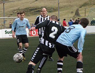 Víkingur Gøta - Víkingur Gøta vs. TB Tvøroyri in March 2012. Sølvi Vatnhamar and Óli Johannesen.