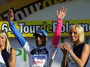 Podium girl - Danilo Napolitano is applauded by the podium girls on the 2007 Tour of Poland