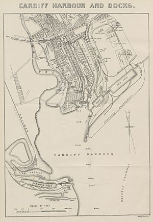 Harriet Windsor-Clive, 13th Baroness Windsor - 1882 map of Cardiff Harbour, with Penarth Dock to the south and the early streets of Grangetown shown on the left of the map