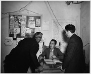 Taos County, New Mexico. Justice of the Peace Montoyo hears a minor case. - NARA - 522002
