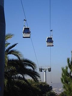 Gondola lift in Barcelona, Spain