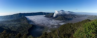 Cemoro Lawang - Tengger caldera and settlement of Cemoro Lawang at left side.