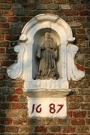 Ter Doest Abbey - Statue of Saint Bernard on chapel