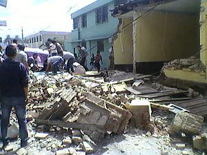2012 Guatemala earthquake - Heavy damage to buildings in San Marcos, Guatemala
