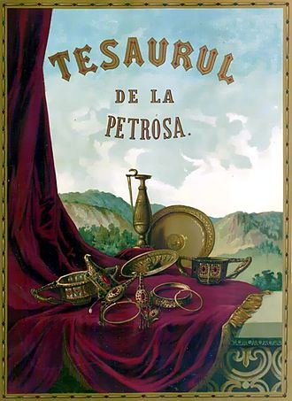 Ring of Pietroassa - A poster depicting the Pietroassa treasure, of which the inscribed ring is a part.