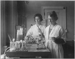 Doctor Ella Eulows (right) and laboratory assistant Sadie Carlin (left) testing antipneumoccus serum for potency, 1920, public domain