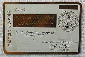 George Dealey - George Dealey's press pass for the Texas Centennial Exposition in 1936