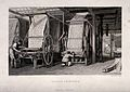Textiles; a pair of large presses for block printing calico. Wellcome V0024211.jpg
