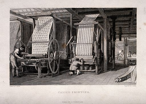 Textiles; a pair of large presses for block printing calico. Wellcome V0024211
