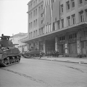 5th (Scottish) Parachute Battalion - Sherman tanks and troops from the 5th (Scottish) Parachute Battalion, 2nd Parachute Brigade, during operations against members of ELAS in Athens, Greece, 6 December 1944.