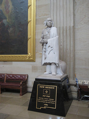 Pueblo Revolt - Statue of Popé, or Po'Pay, now in the National Statuary Hall Collection in the US Capitol Building as one of New Mexico's two statues.