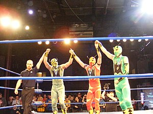 Chikara You Only Live Twice - The Colony celebrating their 2011 King of Trios win, which was retroactively taken away from them as part of a storyline with The Colony: Xtreme Force