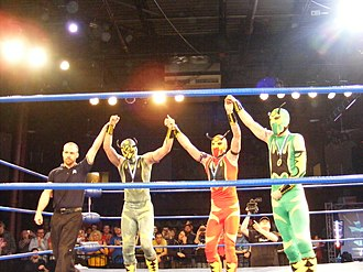 The Colony (professional wrestling) - Soldier Ant, Fire Ant and Green Ant (now known as Silver Ant) in April 2011, celebrating their King of Trios victory
